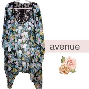 Avenue Black floral crochet kimono plus sheer 30